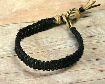 Surfer Hemp Flat Black Bracelet With Horn Bead