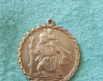Vintage antique Sterling Silver St. Christopher Medal, has old hallmark stamps on back