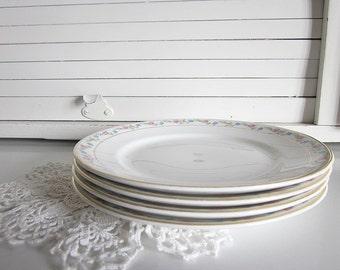 Vintage White Salad Plates Blue Pink Flowers Floral Gold Trim Homer Laughlin Dinnerware Dishes Cottage Home Decor Bone China Plates Wedding