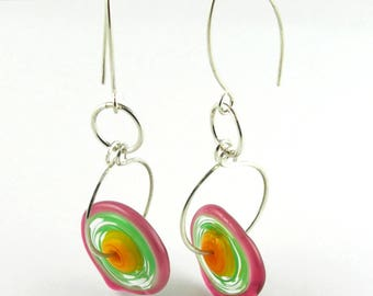 Sterling Silver Long Dangle Lampwork Glass Flower Disk Earrings in Yellow Orange Green Hot Pink
