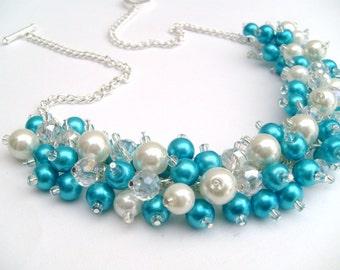 Beaded Necklace, Turquoise Bridesmaid Jewelry, Cluster Necklace, Chunky Necklace, Bridesmaid Gift, Bridesmaid Necklace, Blue Necklace