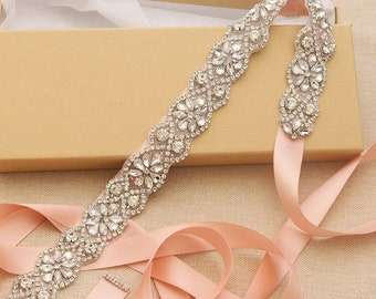 Long Rhinestone Bridal Sash / Wedding Sash/ Bridal Belt
