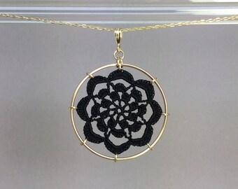 Serendipity doily necklace, black silk thread, 14K gold-filled