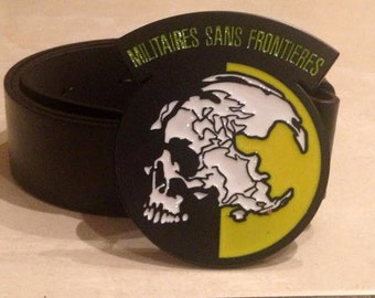 MILITAIRES Sans FRONTIERES logo metal BUCKLE + Free Belt metal gear solid Cosplay konami