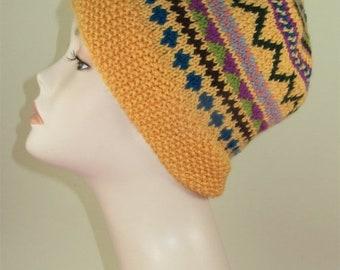 HALF PRICE SALE Instant Digital File pdf download knitting pattern - Simple Fairisle Slouch pdf download knitting pattern