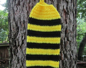 Bee Plastic Bag Holder, Crochet Bee Striped Yellow and Black Holder for Walmart Bags