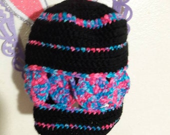 Pink and black women's beanie