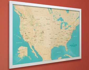 United States Push Pin Map - US National Parks Road Trip Map - White Frame