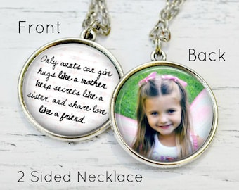 Personalized AUNT Pendant - Custom Typography Quotation Photo Necklace Artisan Jewelry Keepsake Gift for Aunt or Sister