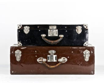 Vintage Suitcase Set Vintage Suitcases Suitcase Set Black Suitcase Brown Suitcase Metal Suitcase Stack Of Suitcases Old Suitcase