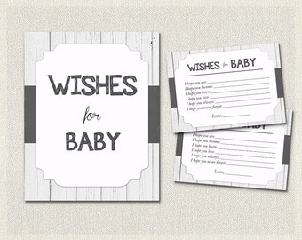 Wishes for Baby Rustic White Wood Black and White | Baby Wish Cards | Baby Shower Activities Gender Neutral Baby Shower BS-57