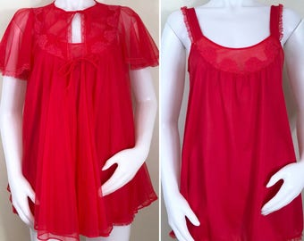 60s 70s JC Penney Red Baby Doll Robe and Nightie Set, Size XS to Small
