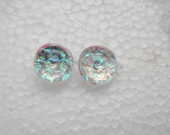 transparent morning dew POST EARRINGS fused dichroic glass (SYF19)