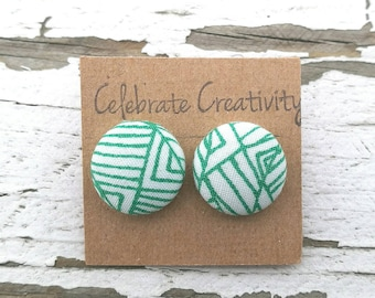 """Fabric Button Post Earrings - Green and White Abstract - 5/8"""""""
