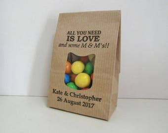 Rustic Wedding Favor Bags-LOVE AND M & M's-Kraft Bags with Window-Rustic Wedding Ideas-Wedding Favors-Rustic Wedding-Weddings