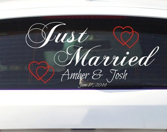 "Just Married Car Decal Removable Vinyl Lettering and Hearts for Wedding Car Decal 24.5"" x 11.5"""