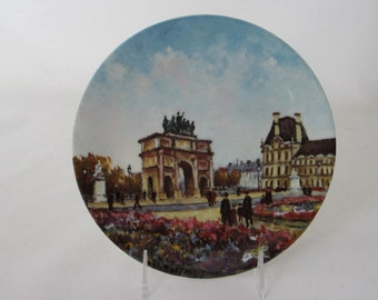 Louis Dali, Limoges Plate, Le Jardin Des Tuileries, plate 7 of 12 collectible plates, Parisian cityscapes, Porcelain de Limoges France
