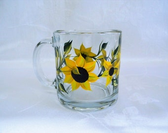 Coffee mug, Tea mug, Hand painted mug, mug with Sunflowers, Sunflowers, Sunflower mug