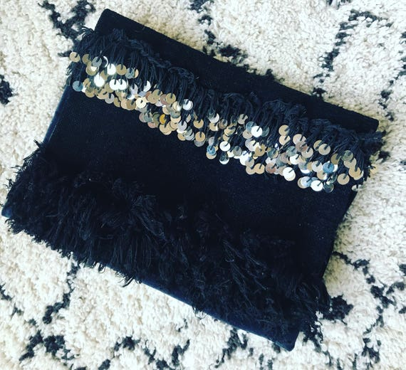 Black Handira Moroccan Wedding Blanket Large Foldover Clutch Bag Boho Coachella Silver Sequins Embellished