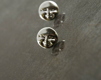 Full Moon earrings, posts, studs, hand-made original in solid 925 Sterling Silver