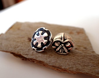 Star Wars Dark Side Silver Earrings featuring Darth Vader & Imperial Insignia