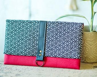 Red black and silver clutch - Women evening bag - Bridesmaid clutch - Waterproof clutch - Vegan purse - Folded over clutch - Evening bag