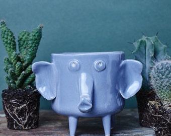Ceramic Elefant Planter, Animal Planter, Cactus Planter, Flowerpot, DoElefant shape planter, Modern Contemporary Ceramic Design