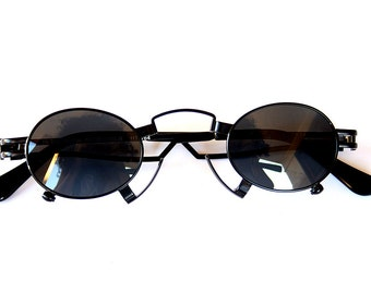 round sunglasses oval sunglasses Steampunk sunglasses Goth sunglasses Vampire pince-nez stainless steel unusal unique sunglasses