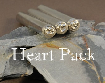 Heart Stamps - THREE Heart Metal Stamps - A Single, double and Spiral Heart