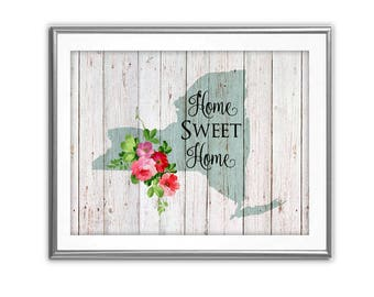SALE-Home Sweet Home- New York On Barn Wood With Roses- Art Print - Wall Art Designs- Gallery Wall- Quote Prints- State Art-Farmhouse Decor