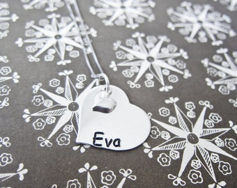 Sterling Silver Hand Stamped Heart Necklace with Tiny Heart Charm - Custom Name Mother Pendant