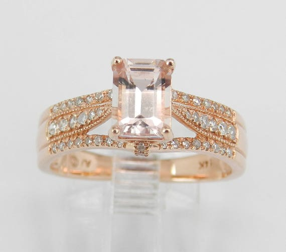 Emerald Cut Morganite and Diamond Halo Engagement Ring 14K Rose Gold Size 6.75