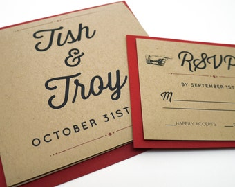 Long Tri-Fold Rustic Recycled Kraft Wedding Invitation with a Classic Vintage Design