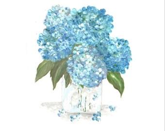 Original Watercolor, Floral Vase Series, Aqua Hydrangea Original Watercolor Print, Watercolor, Purple Hydrangea Painting,