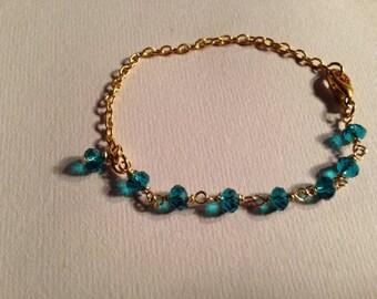 Teal Bracelet Gold Chain Jewelry Crystal Jewellery Handmade Unique Children Everyday Unique Wedding Flower Girl