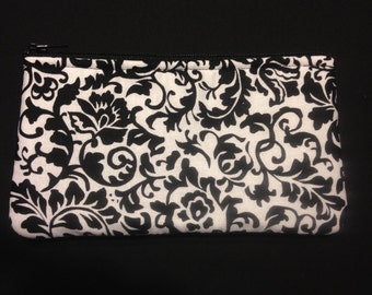 Black and White Damask Pencil Case / Zipper Pouch, Coin Purse, or Wristlet #117