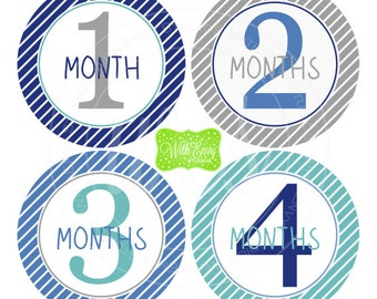 Baby Boy Monthly Stickers - Striped Baby Month Stickers - Baby Boy Growth Stickers - Boy Milestone Stickers - 040