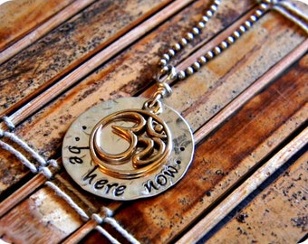 yoga necklace-om sterling silver jewelry- gift for her- brass om symbol