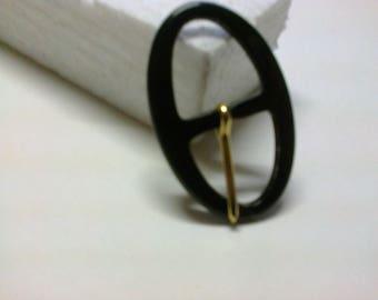Black oval buckle plastic passage 1.8 cm * BO103 *.