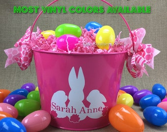 Personalized pink Easter basket, Easter bucket, Easter pail with childs name.  Most vinyl colors available.