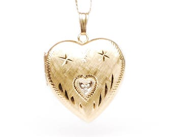 Elegantly Etched 14k Gold Heart Shaped Locket Pendant, Solid Gold Tiny Diamond Chip Center, Vintage Estate Jewelry, For Photos or Love Notes
