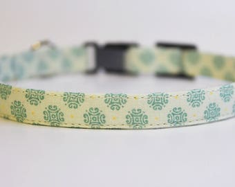 Beige Cat Collar Geometric | Breakaway Cat Collar | Handmade | Adjustable | Small Dog Collar | Safety Cat Collar | Pet Collar | Pet Gift