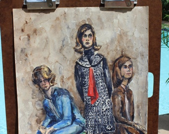 Vintage Water Color of 3 Women By Jan Andrews Vintage Art Vintage Artwork Vintage Painting Vintage Fashion Three Women