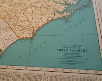 Old North Carolina map, North Dakota, 1930s vintage US State Map, wall art, decor, old maps / wall art poster
