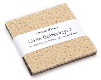 """Moda Little Gatherings II Charm Pack, (42) 5"""" Quilt Fabric Squares by Primitive Gatherings"""