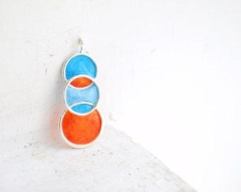 Ready to Ship, Orange Blue Pendant, Bold Retro Paper Jewelry, Caribbean Ocean Necklace