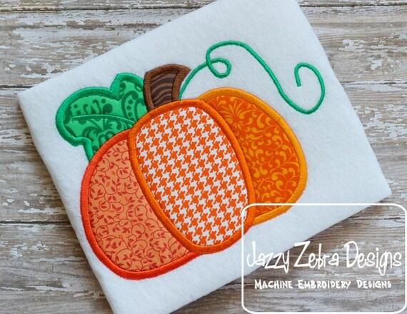 3 color Pumpkin Applique embroidery Design - fall Applique Design - pumpkin Applique Design - thanksgiving Applique Design - Halloween