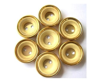 6 Vintage buttons gold color metal with cream plastic circle, 18mm