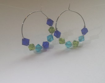 Blue Green Aqua Crystals Silver Hoop Earrings by hipknitta