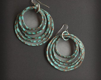 Patina Copper Earrings - Copper Hoops - Turquoise Patina Finish - handmade copper jewelry